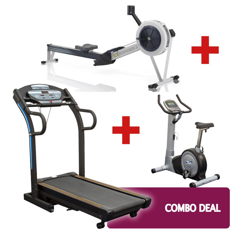 Treadmill, Exercise Bike and Concept 2 Combo Deal